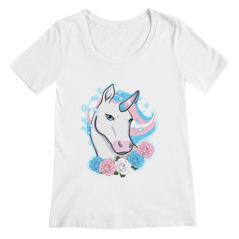 Trans pride unicorn Women's Regular Scoop Neck by Animegravy's Artist Shop