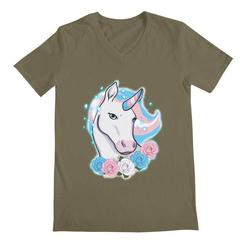Trans pride unicorn Men's Regular V-Neck by Animegravy's Artist Shop