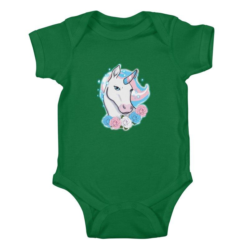 Trans pride unicorn Kids Baby Bodysuit by AnimeGravy