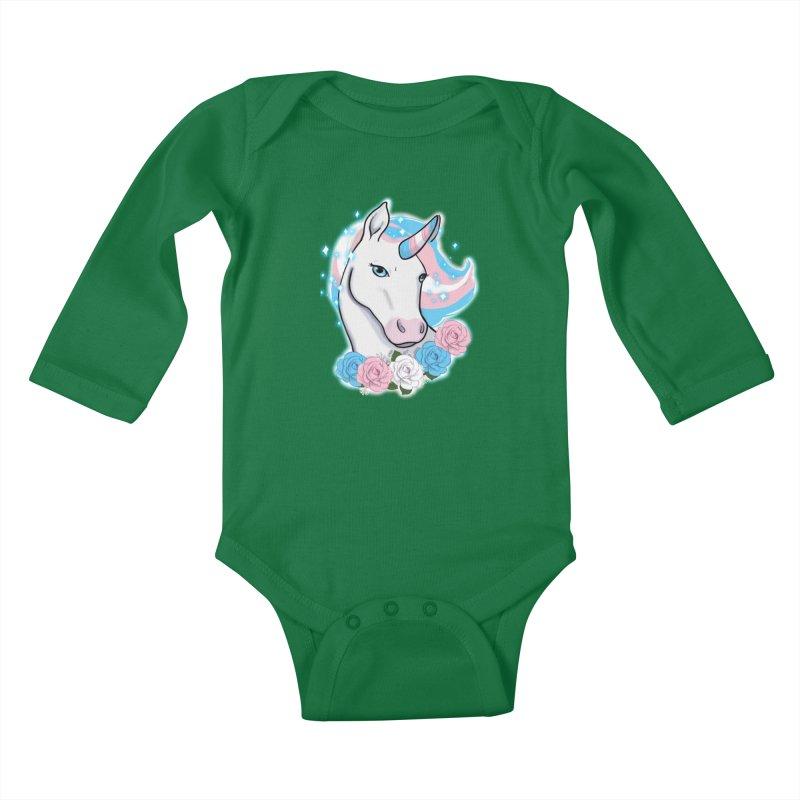Trans pride unicorn Kids Baby Longsleeve Bodysuit by Animegravy's Artist Shop