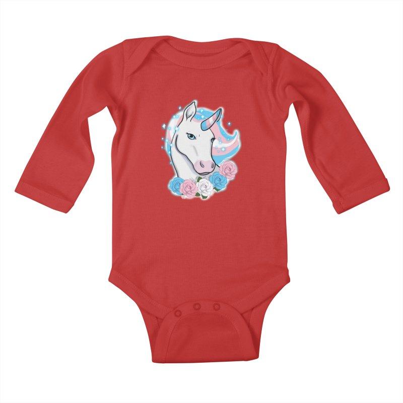 Trans pride unicorn Kids Baby Longsleeve Bodysuit by AnimeGravy