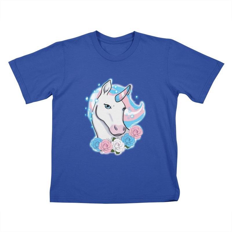 Trans pride unicorn Kids T-Shirt by AnimeGravy
