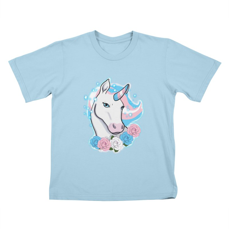 Trans pride unicorn Kids T-Shirt by AnimeGravy