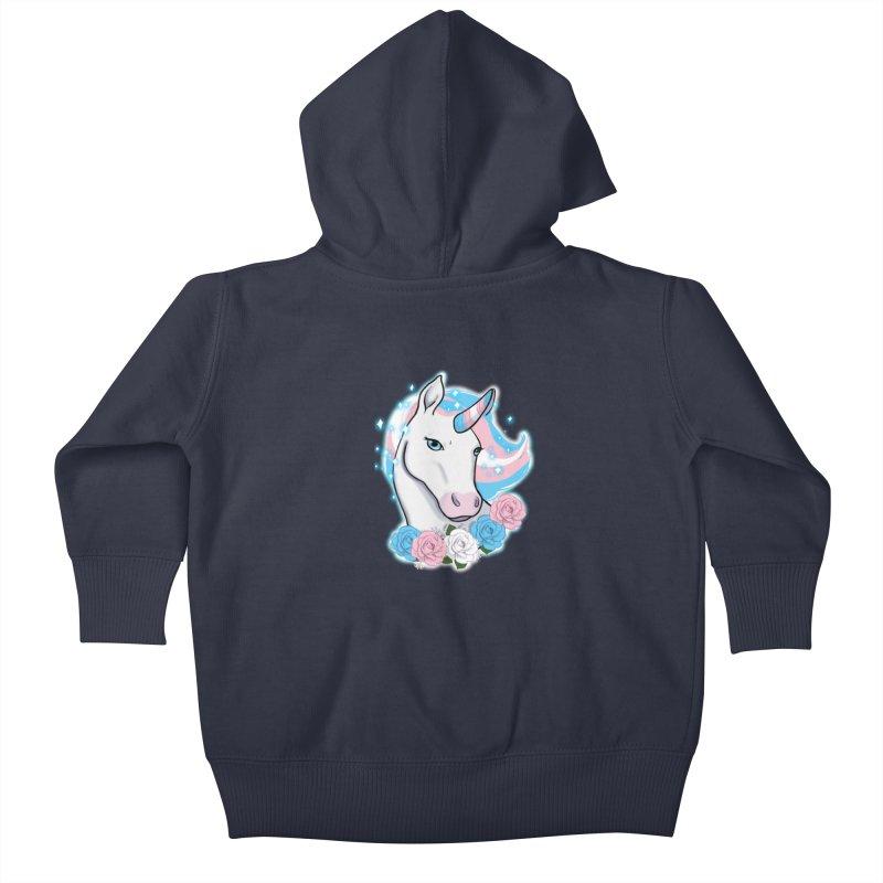 Trans pride unicorn Kids Baby Zip-Up Hoody by Animegravy's Artist Shop