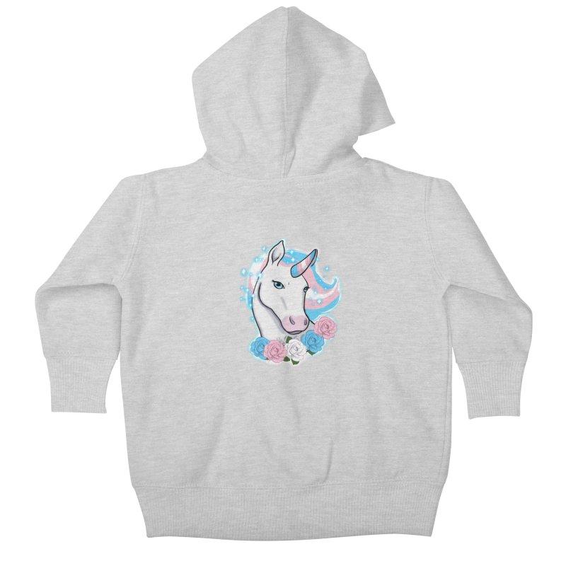 Trans pride unicorn Kids Baby Zip-Up Hoody by AnimeGravy