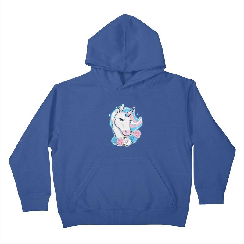 Trans pride unicorn Kids Pullover Hoody by AnimeGravy