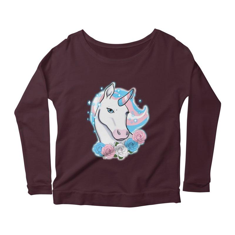 Trans pride unicorn Women's Scoop Neck Longsleeve T-Shirt by AnimeGravy