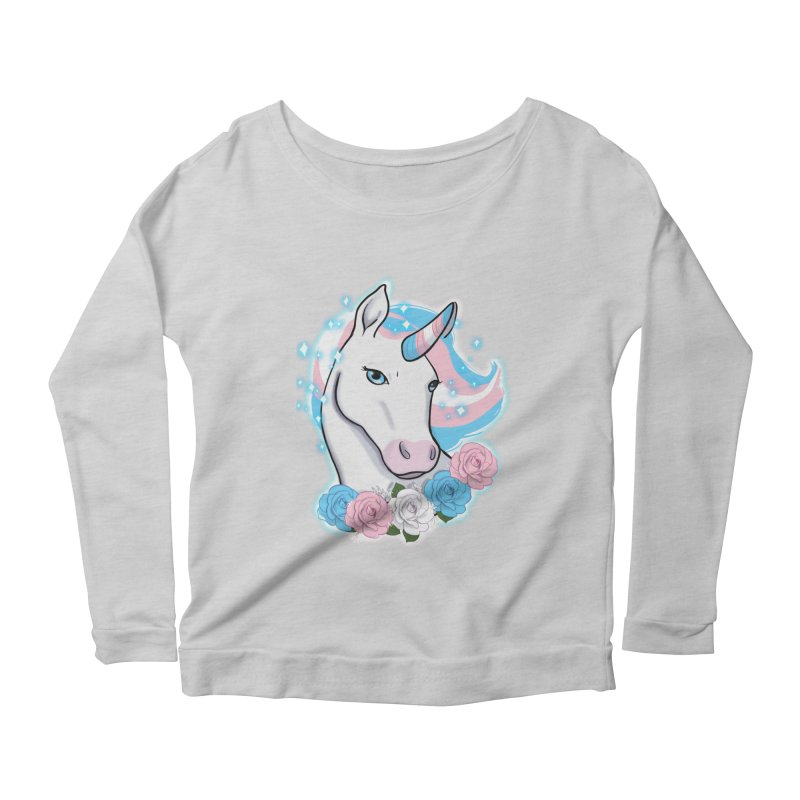 Trans pride unicorn Women's Scoop Neck Longsleeve T-Shirt by Animegravy's Artist Shop
