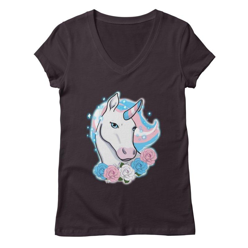 Trans pride unicorn Women's Regular V-Neck by AnimeGravy