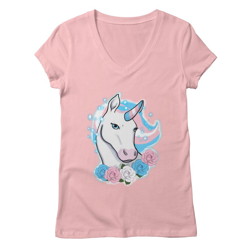 Trans pride unicorn Women's Regular V-Neck by Animegravy's Artist Shop