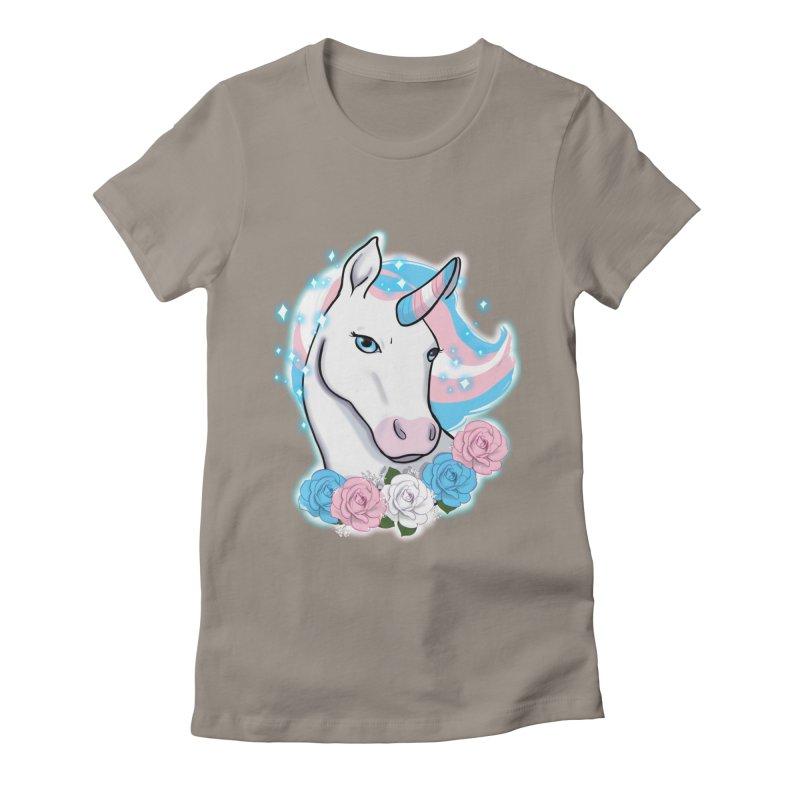 Trans pride unicorn Women's Fitted T-Shirt by Animegravy's Artist Shop