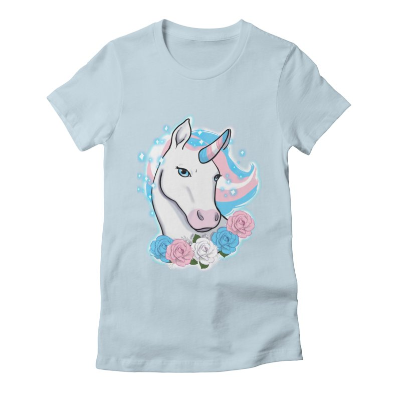 Trans pride unicorn Women's Fitted T-Shirt by AnimeGravy