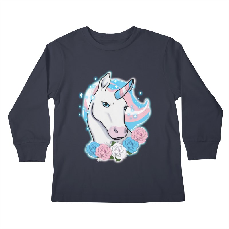 Trans pride unicorn Kids Longsleeve T-Shirt by AnimeGravy
