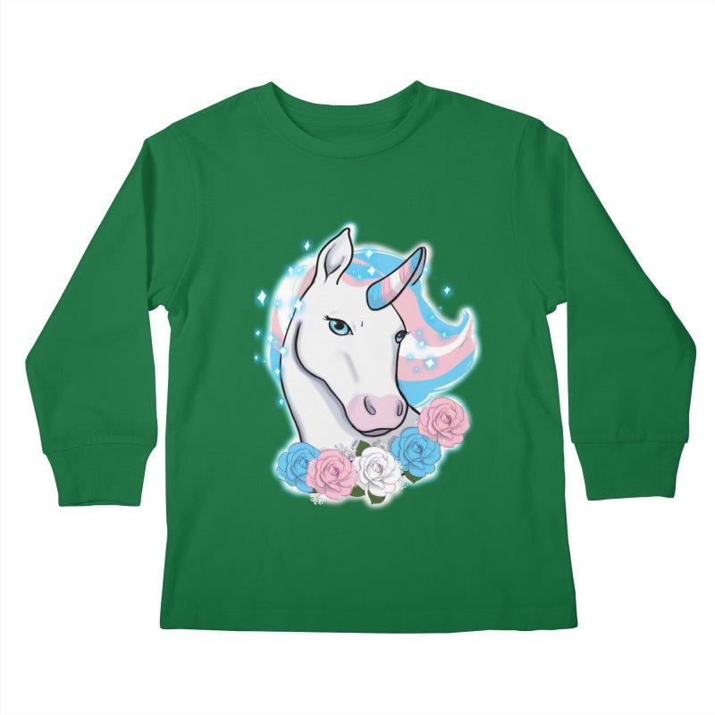 Trans pride unicorn Kids Longsleeve T-Shirt by Animegravy's Artist Shop