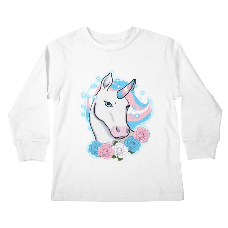Trans pride unicorn Kids Longsleeve T-Shirt by AnimeGravy