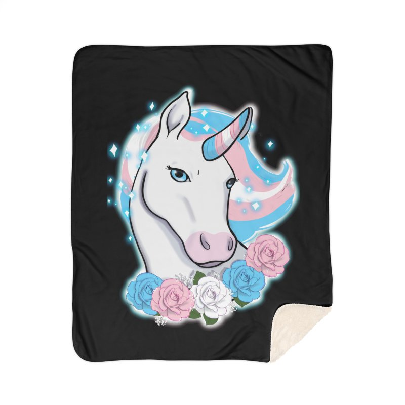 Trans pride unicorn Home Sherpa Blanket Blanket by AnimeGravy