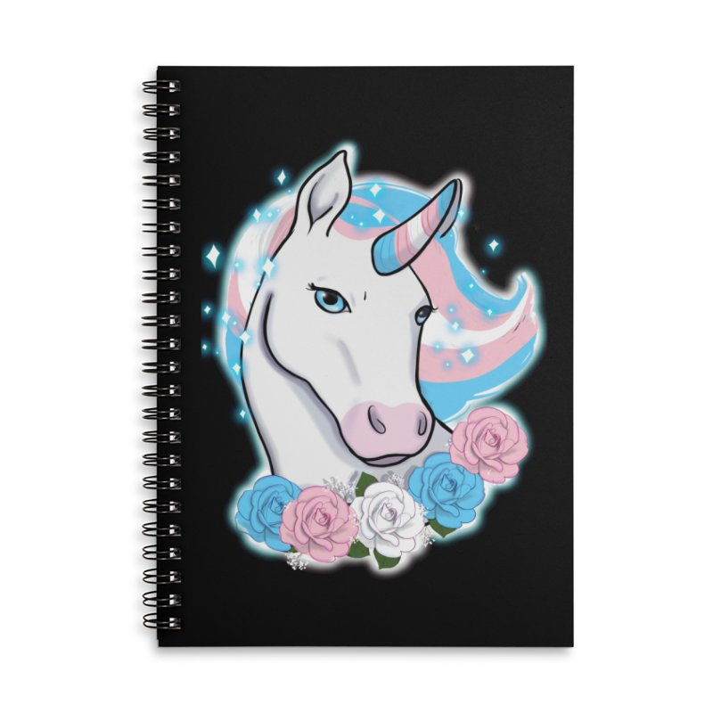 Trans pride unicorn Accessories Lined Spiral Notebook by AnimeGravy