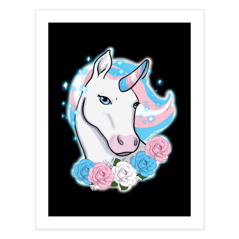 Trans pride unicorn Home Fine Art Print by AnimeGravy
