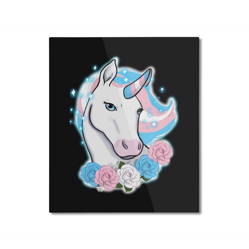 Trans pride unicorn Home Mounted Aluminum Print by AnimeGravy