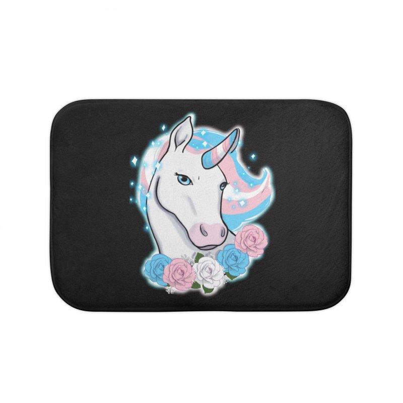 Trans pride unicorn Home Bath Mat by AnimeGravy