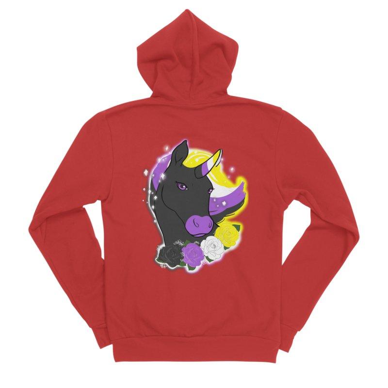 Nonbinary pride unicorn Women's Zip-Up Hoody by AnimeGravy