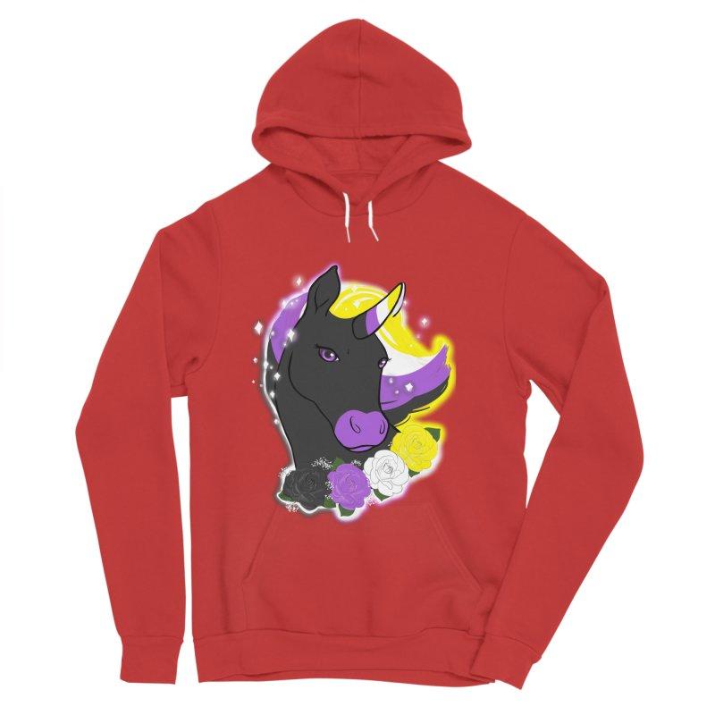 Nonbinary pride unicorn Men's Sponge Fleece Pullover Hoody by AnimeGravy
