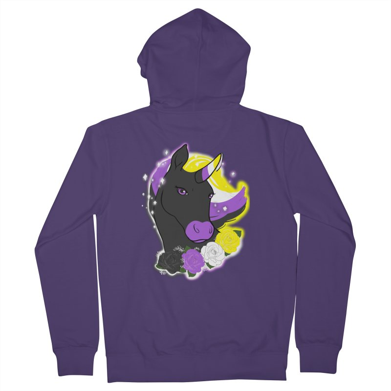 Nonbinary pride unicorn Women's French Terry Zip-Up Hoody by Animegravy's Artist Shop
