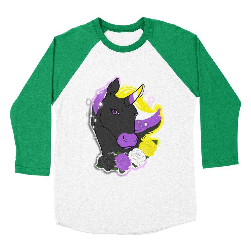 Nonbinary pride unicorn Women's Baseball Triblend Longsleeve T-Shirt by AnimeGravy