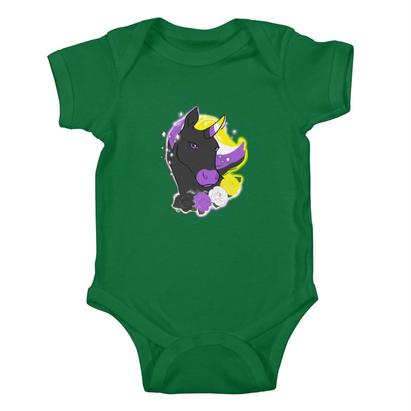 Nonbinary pride unicorn Kids Baby Bodysuit by AnimeGravy
