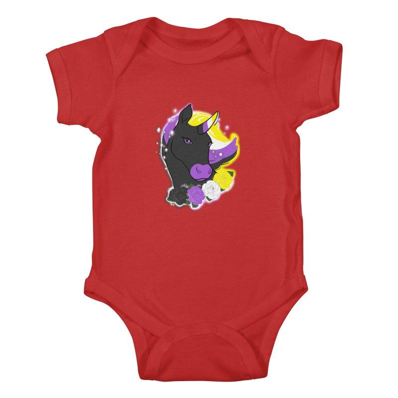 Nonbinary pride unicorn Kids Baby Bodysuit by AnimeGravy