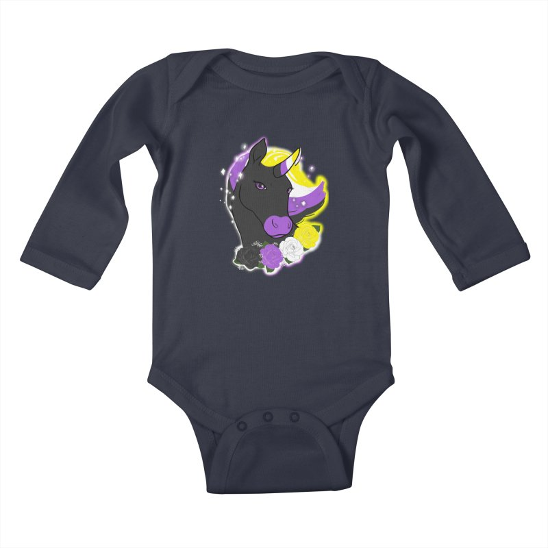 Nonbinary pride unicorn Kids Baby Longsleeve Bodysuit by AnimeGravy