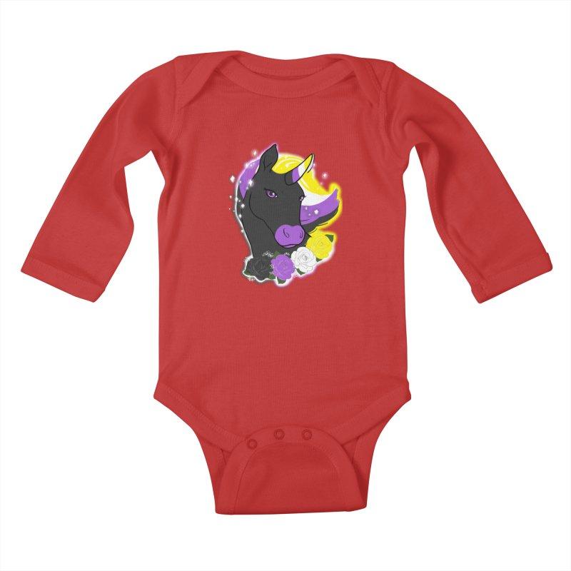 Nonbinary pride unicorn Kids Baby Longsleeve Bodysuit by AnimeGravy