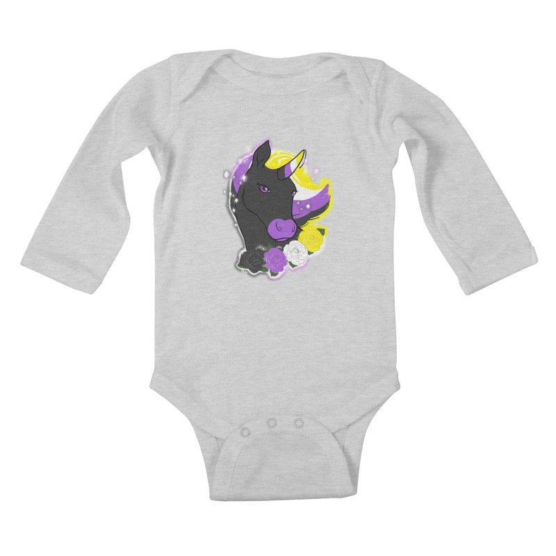 Nonbinary pride unicorn Kids Baby Longsleeve Bodysuit by Animegravy's Artist Shop
