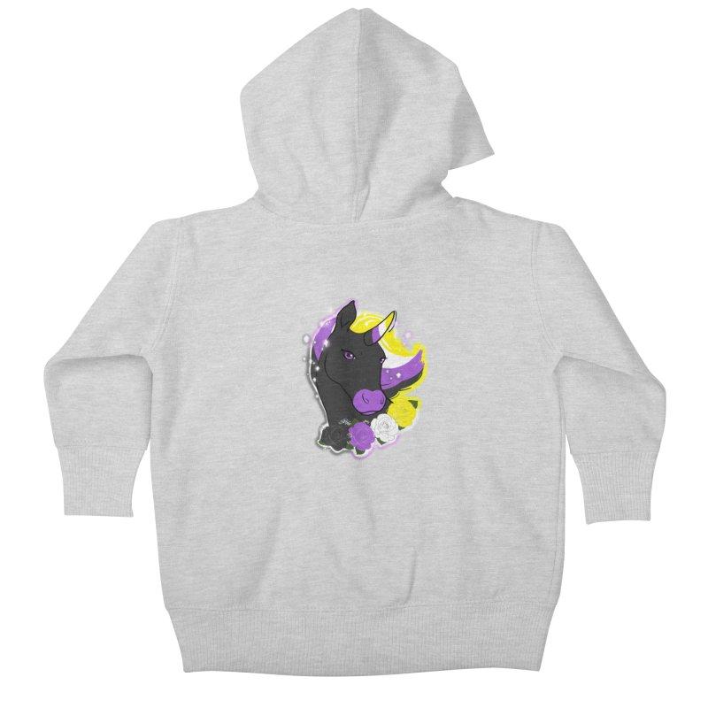 Nonbinary pride unicorn Kids Baby Zip-Up Hoody by AnimeGravy