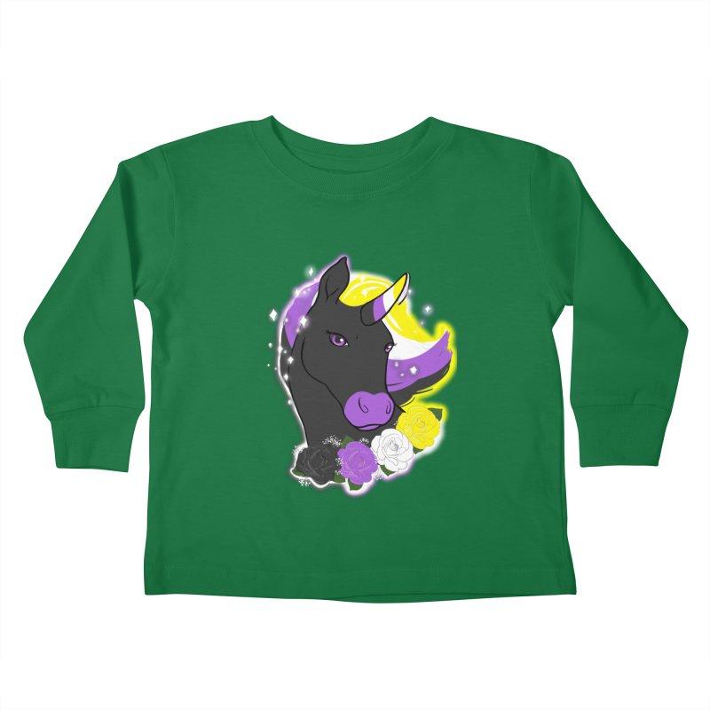Nonbinary pride unicorn Kids Toddler Longsleeve T-Shirt by Animegravy's Artist Shop