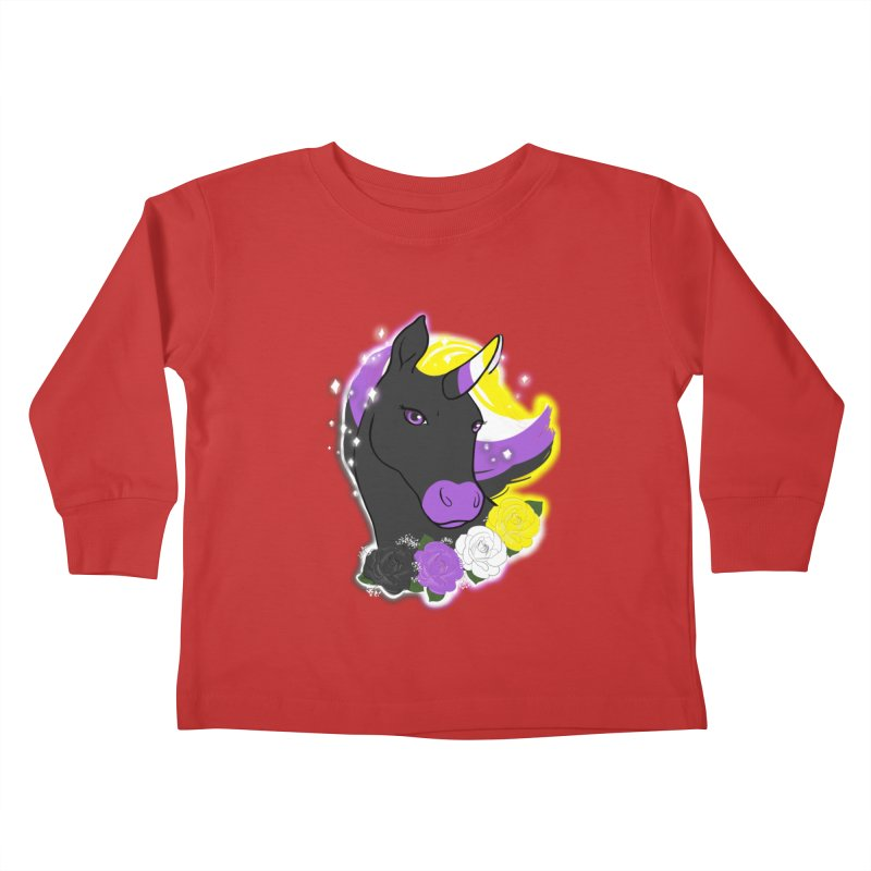 Nonbinary pride unicorn Kids Toddler Longsleeve T-Shirt by AnimeGravy