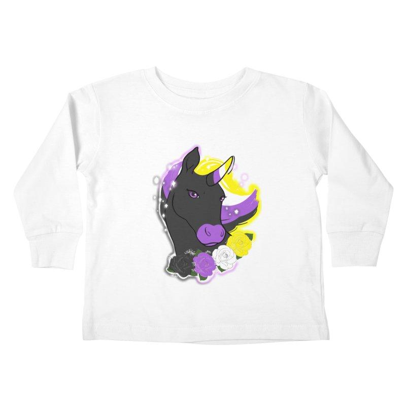 Nonbinary pride unicorn Kids Toddler Longsleeve T-Shirt by AnimeGravy