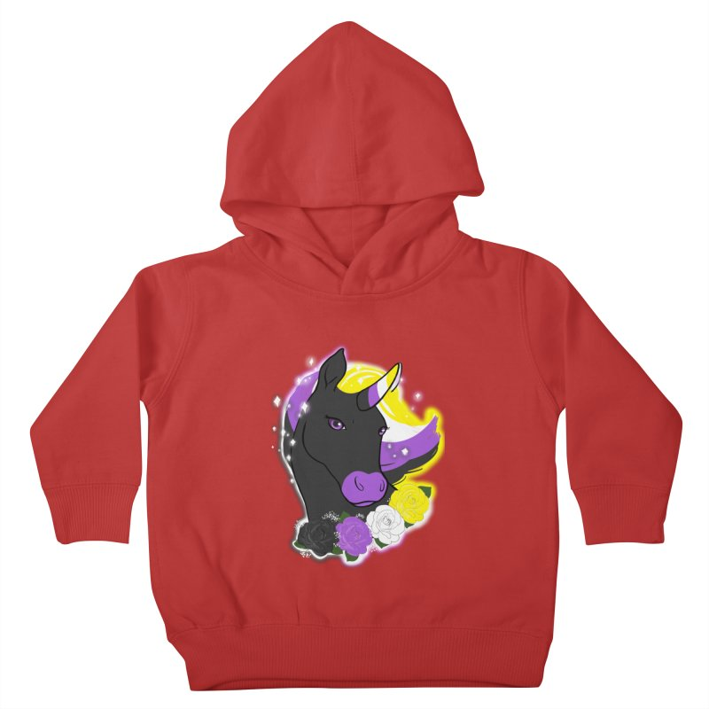 Nonbinary pride unicorn Kids Toddler Pullover Hoody by AnimeGravy