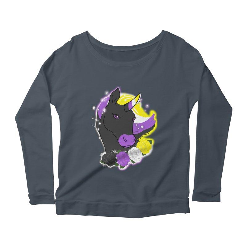 Nonbinary pride unicorn Women's Scoop Neck Longsleeve T-Shirt by AnimeGravy