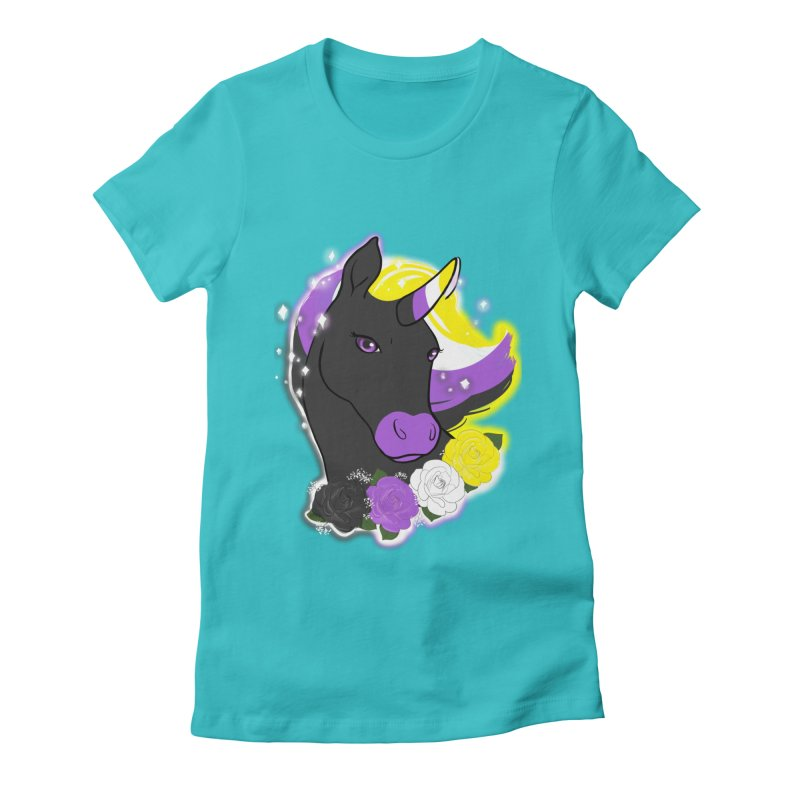 Nonbinary pride unicorn Women's Fitted T-Shirt by Animegravy's Artist Shop