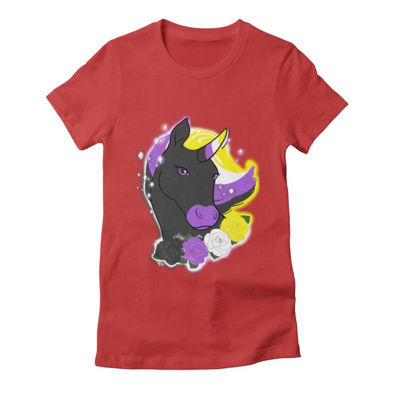 Nonbinary pride unicorn Women's Fitted T-Shirt by AnimeGravy