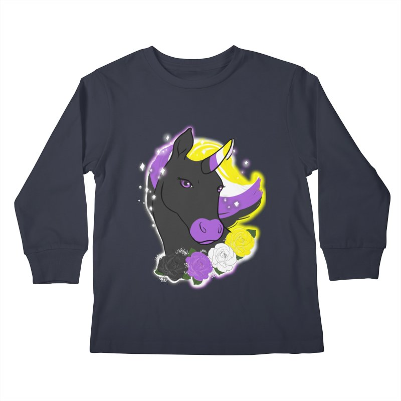 Nonbinary pride unicorn Kids Longsleeve T-Shirt by AnimeGravy