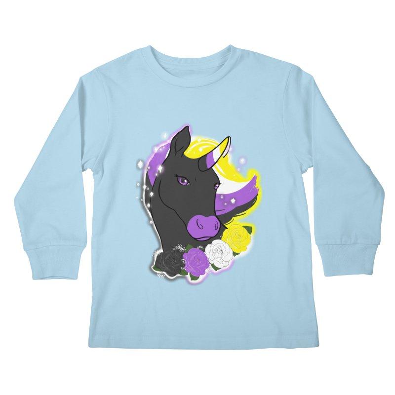 Nonbinary pride unicorn Kids Longsleeve T-Shirt by AnimeGravy