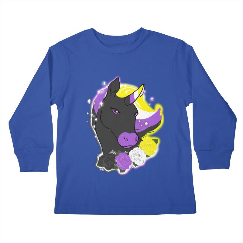 Nonbinary pride unicorn Kids Longsleeve T-Shirt by Animegravy's Artist Shop