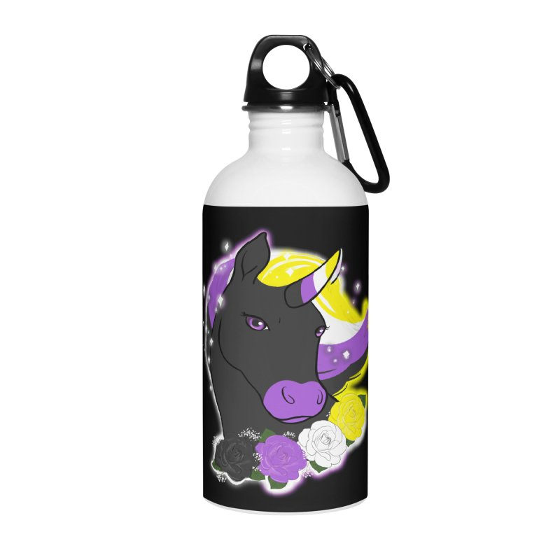 Nonbinary pride unicorn Accessories Water Bottle by Animegravy's Artist Shop