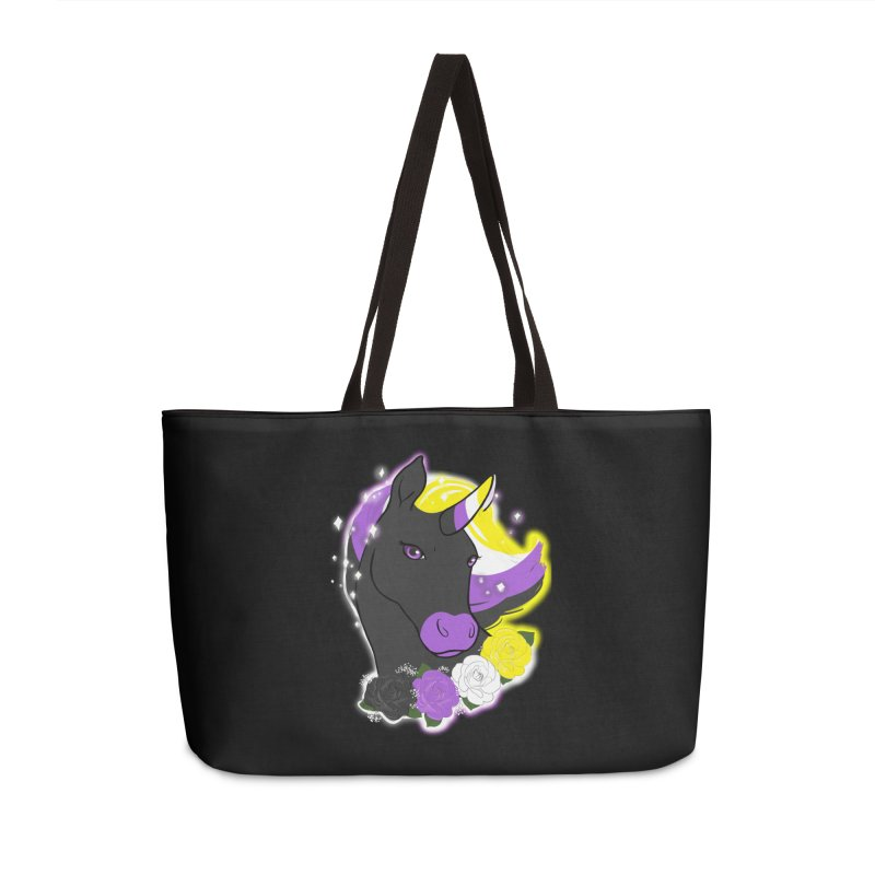 Nonbinary pride unicorn Accessories Weekender Bag Bag by AnimeGravy