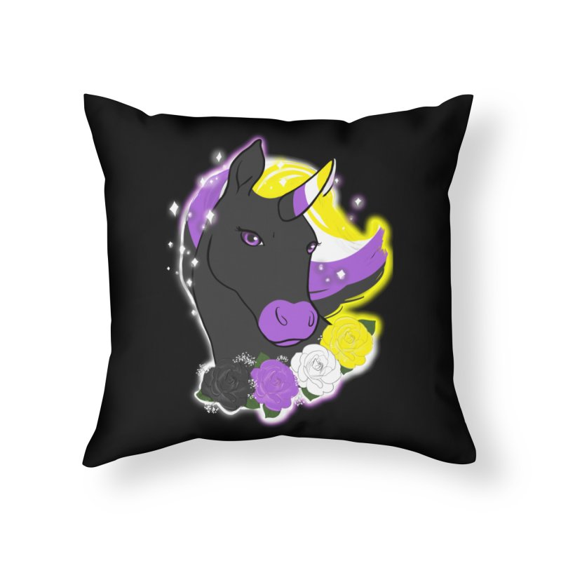 Nonbinary pride unicorn Home Throw Pillow by AnimeGravy