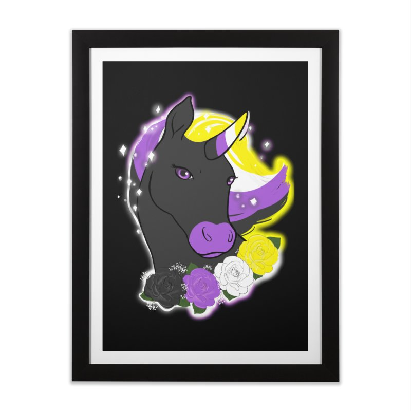 Nonbinary pride unicorn Home Framed Fine Art Print by AnimeGravy