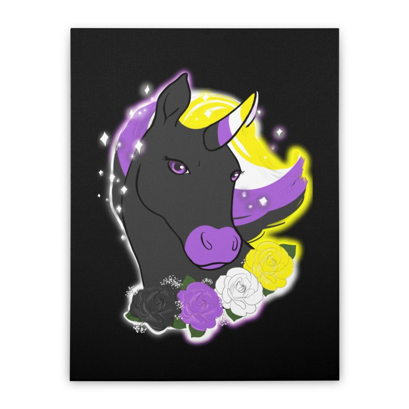 Nonbinary pride unicorn Home Stretched Canvas by AnimeGravy