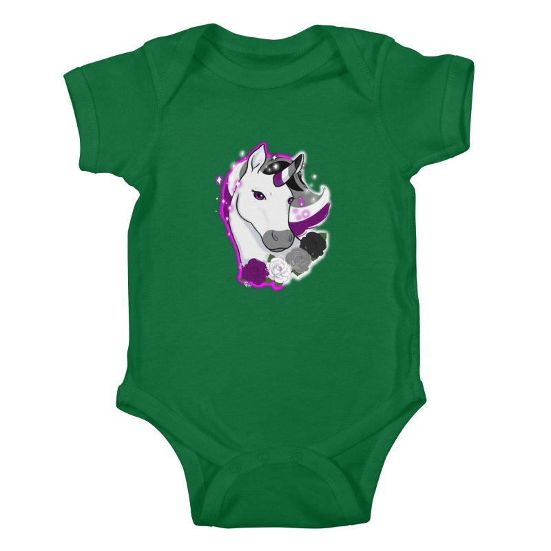 Asexual pride unicorn Kids Baby Bodysuit by AnimeGravy